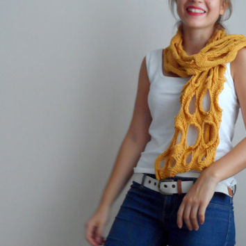 Mustard Yellow Scarf, Hand Knit, Unique design, Best style, New seasons, Best color,Neckwarmer, shawl...
