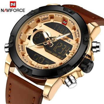 NAVIFORCE NF9079RG Luxury Men's Quartz Waterproof Sports Leather Military Watch