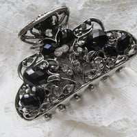 Refashioned Silver with Black Stones Claw Hair Clip Hair Accessories Clips for Hair Prom Homecoming Hair Accessories Jaw Clip