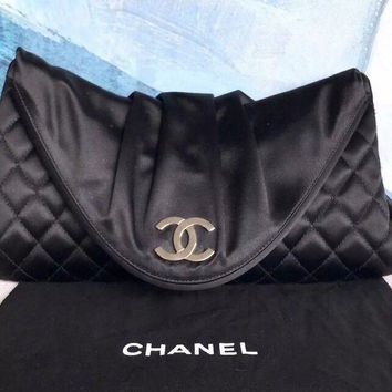 CHANEL Black Quilted Satin Silver CC Pleated Moon Clutch Evening Bag SALE!