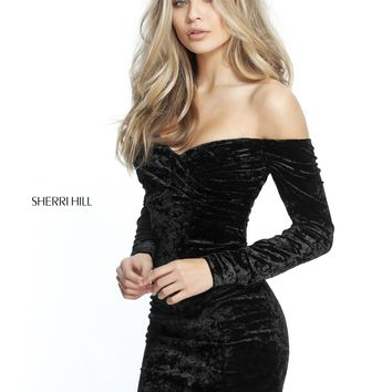 Sherri Hill 51403 Off-The-Shoulder Velvet Dress with Sleeves
