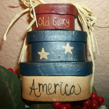 Paper Mache Covered Nesting Boxes Painted Red Beige and Blue Old Glory America Miniature Stacked Box Set Raffia Tied Home Decor