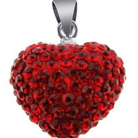 WOW! 925 Sterling Silver Swarovski RUBY CZ Crytals Round Heart Pendant Large 15mm Heart Shape Necklace, | AihaZone Store