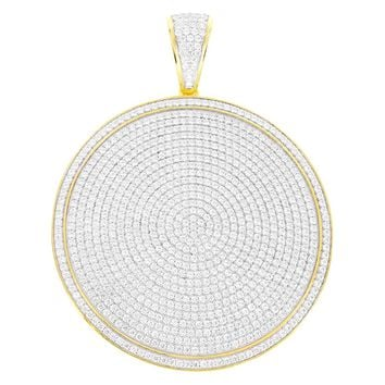 14k Gold Tone Silver Iced Out Circle Medallion Round Pendant