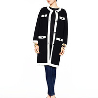 Kate Spade Head In The Clouds Colorblock Scuba Coat Black/Cream
