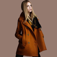 Double Button Loose Pure Color Fashion Woolen Coat
