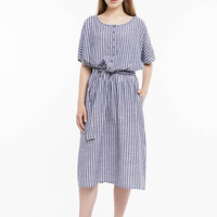 Oversized Linen Stripes Dress / Summer Loose fitted Dress with a waistband / Handcrafted pleated on waist