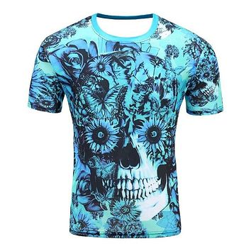Colorful 3D Printed High Quality Tees #flowerskull