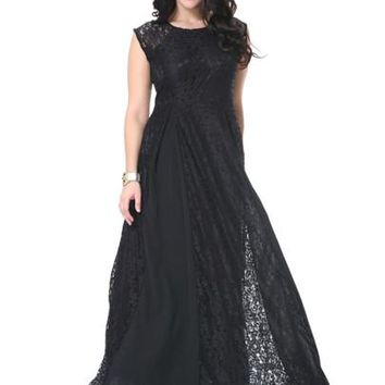 Black Patchwork Plus Size Women's Maxi Dress