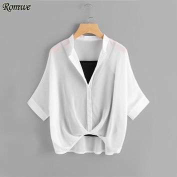 Women Fall Fashion Draped Elegant High Low Lapel Shirt