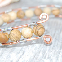 Reclaimed Copper Wire and PIcture Jasper Beaded Wirework Bracelet