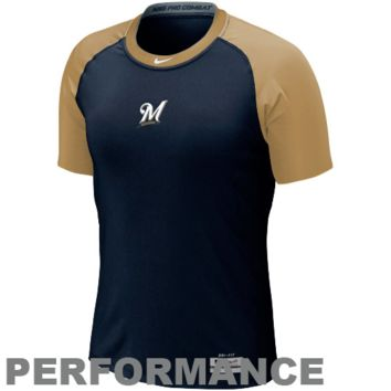 Nike Milwaukee Brewers Pro Combat Core 1.2 Performance T-Shirt - Navy Blue