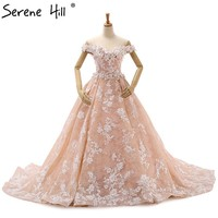 Romantic Peach Wedding Dress 3D Flower Photography Bridal Gown