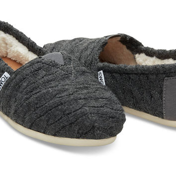 FORGED IRON GREY CABLE KNIT WITH SHEARLING WOMEN'S CLASSICS