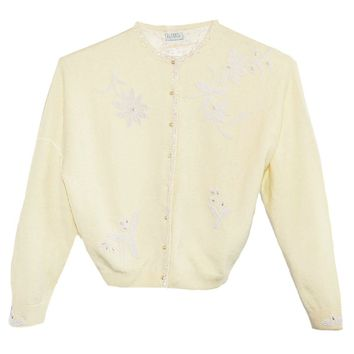 Vintage 1960s Beaded Angora Yellow Cardigan, White Flower Beading