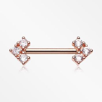 A Pair of Rose Gold Geometric Arrow Sparkles Nipple Barbell
