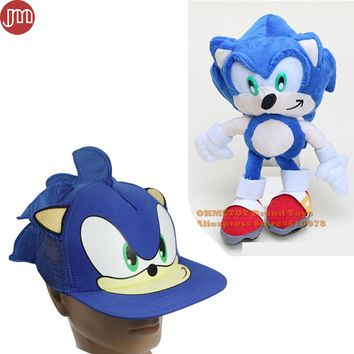 OHMETOY 2PCS Sonic The Hedgehog Plush Doll Cosplay Hat Baseball Cap Adjustable Kids Birthday Gift Collection