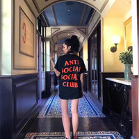 """""""ANTI SOCIAL SOCIAL CLUB"""" All-match Casual Unisex Letter Print Round Neck Short Sleeve Couple Cotton T-shirt"""