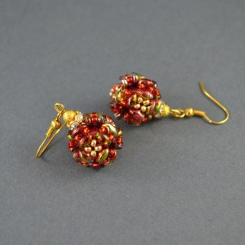 earrings of the ball, round earrings, woven earrings, gift for her, shining earrings, small earrings, fashionable earrings