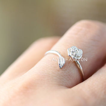 Sterling Silver Rose ring Adjustable Open Band Ring Jewelry gift idea Free Size