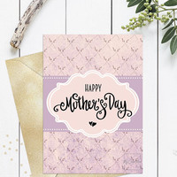 Happy mothers day card printable, Cute cool mothers day card for wife mom friend sister, Mothers day card calligraphy handwritten, Download