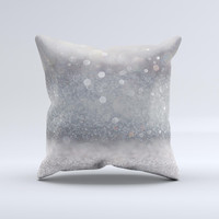 The Unfocused Grayscale Glimmering Orbs of Light ink-Fuzed Decorative Throw Pillow