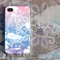 Apple iphone case for iphone iPhone 5 iphone 5s iphone 4 iphone 4s iphone 3Gs : Vintage white floral on pink sky with cloud background