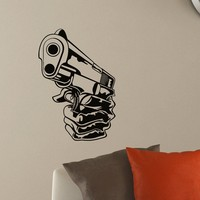 Wall Decal Vinyl Sticker Gun Handgun Weapon Military Decor Sb439