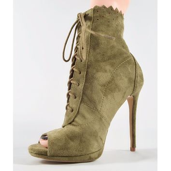 So Me Lace Up Peep Toe Fitted Fabric Stiletto Heel Ankle Boot Olive Green
