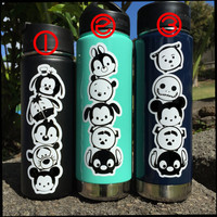 Tsum Tsum Boys Mini Stack Set with Colored Backdrop Vinyl Decal for Hydro Flask Water Bottles and Car Windows too