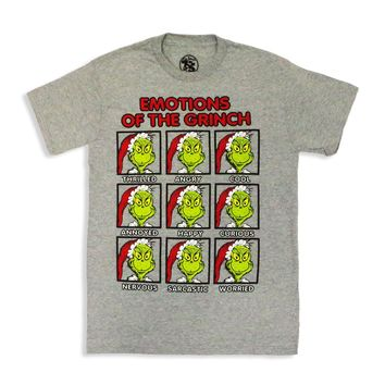 Dr.Seuss Emotions Of The Grinch T Shirt, Grey, X-Large