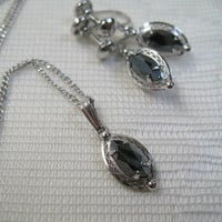 Vintage Sorrento Sterling Silver Necklace and Earring Set Hematite Pendant Necklace Screwback Earrings