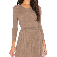 Peronne Long Sleeve Sweater Dress in Heather Mahogany