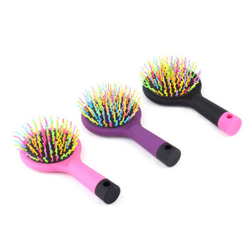 2016 Hot Sele 1pc Rainbow Volume Anti-static Magic Detangler Hair Curl Straight Massage Comb Brush Styling Tools With Mirror