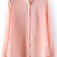 Light Pink Lapel Long Sleeve Buttons Down Loose Fitting Blouse