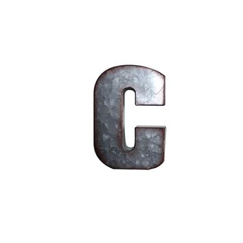 Letter C Metal Wall Decor | 3D Wall Letters Farmhouse Decor | Galvanized