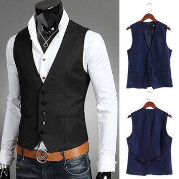 KLV 2017 New Dress Vests For Men Slim Fit Mens Suit Vest Male Waistcoat Gilet Homme Casual Sleeveless Formal Business Jacket
