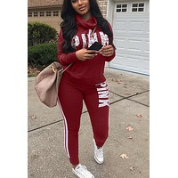 Victoria's Secret Pink Casual Print Hoodie Top Sweater Pants Trousers Set Two-piece Sportswear woman