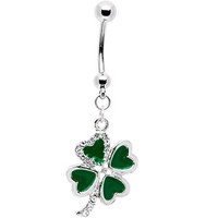 Jeweled Heart Shamrock Belly Ring | Body Candy Body Jewelry