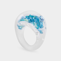 Aqua Crystal Disco Ring