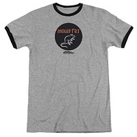 Mens Parks and Recreation Mouse Rat Circle Retro Ringer T-Shirt