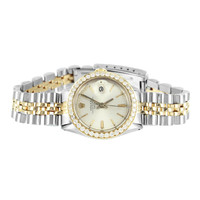 Womens Diamond Rolex Watch Stainless Steel MOP Dial Date-just Dial 1.95 Ct