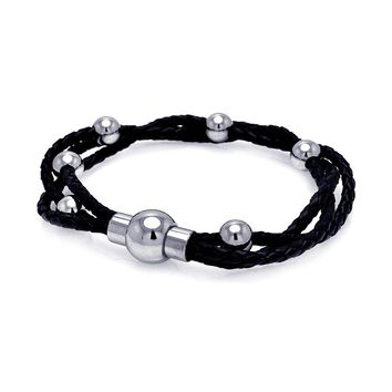 Stainless Steel Multiple Leather Strand & Bead Bangle Lock Bracelet