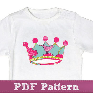 Crown applique template PDF - baby princess pink design pattern