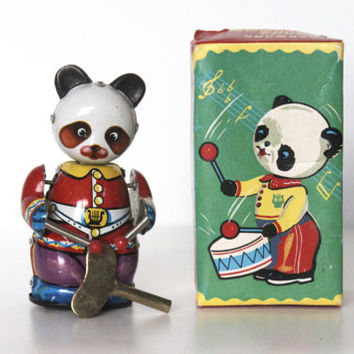 Vintage 60s Tin Toy Clockwork Panda Drummer, In Original Box | Windup Metal Toys, 1960s, Made in China, IOB