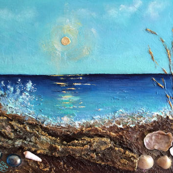 FREE SHIPPING Vacation Paradise seashell 3D acrylic seascape textured mixed media original design of Viktoriya Sirris nautical gift idea