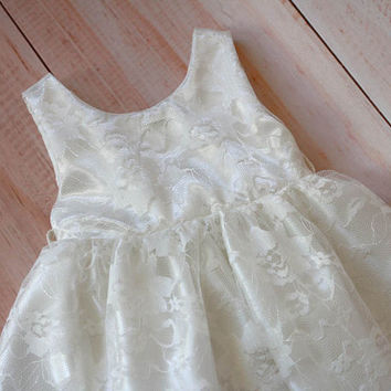 Satin and Lace flower girl dress, White baby dress, Communal Dress, Christmas Dress