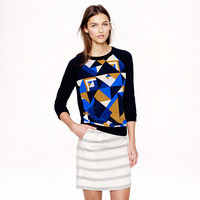 MERINO SILK-PANEL SWEATER IN CUBIST PRINT