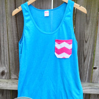 Neon Blue Pocket Tank