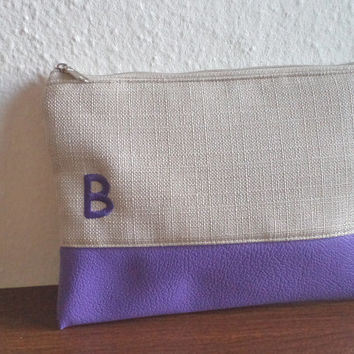 Personalized Clutch / Embroidered Initial Pouch